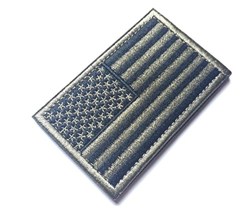 Tactical USA Flag Patch with Hook Backside, Black & Green Embroidered Patch 2 x 3 inch by - Sunglasses Logo K