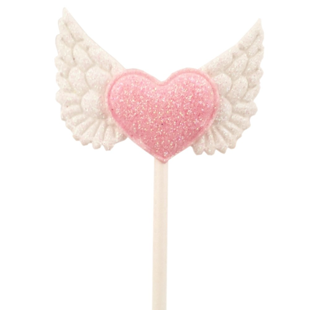15pcs Blingbling Angel Wing Heart Cupcake Toppers Pink Food Decorations Wedding Party Supplies by Funbase (Image #3)
