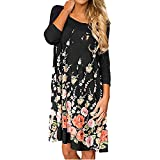 Answerl⍣ Women's Summer Casual T Shirt Dresses Long Sleeve Crew Neck Floral Print Swing Dress with Pockets Black