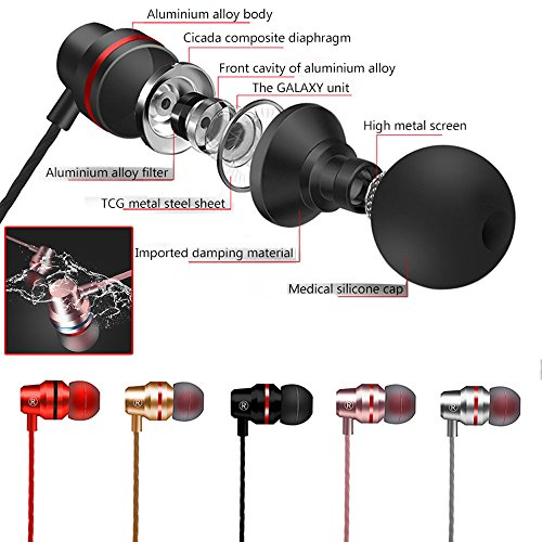 KaiCran New Metal Stereo Headphone Bass Earphone Sport Headset Hands Free Earbuds With Mic (Red) by KaiCran (Image #5)
