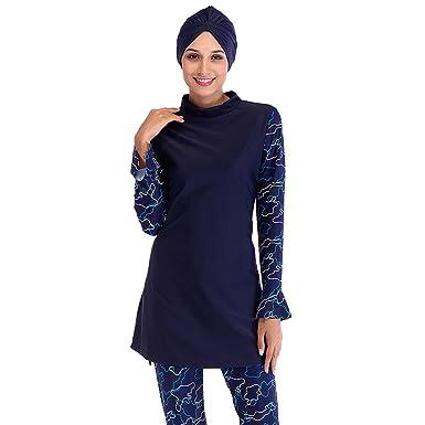 b5b22c0576 Amazon.com: Seafanny Womens Modest Swimsuit Muslim Swimwear Full Cover  Islamic Burkini with Hijab: Clothing