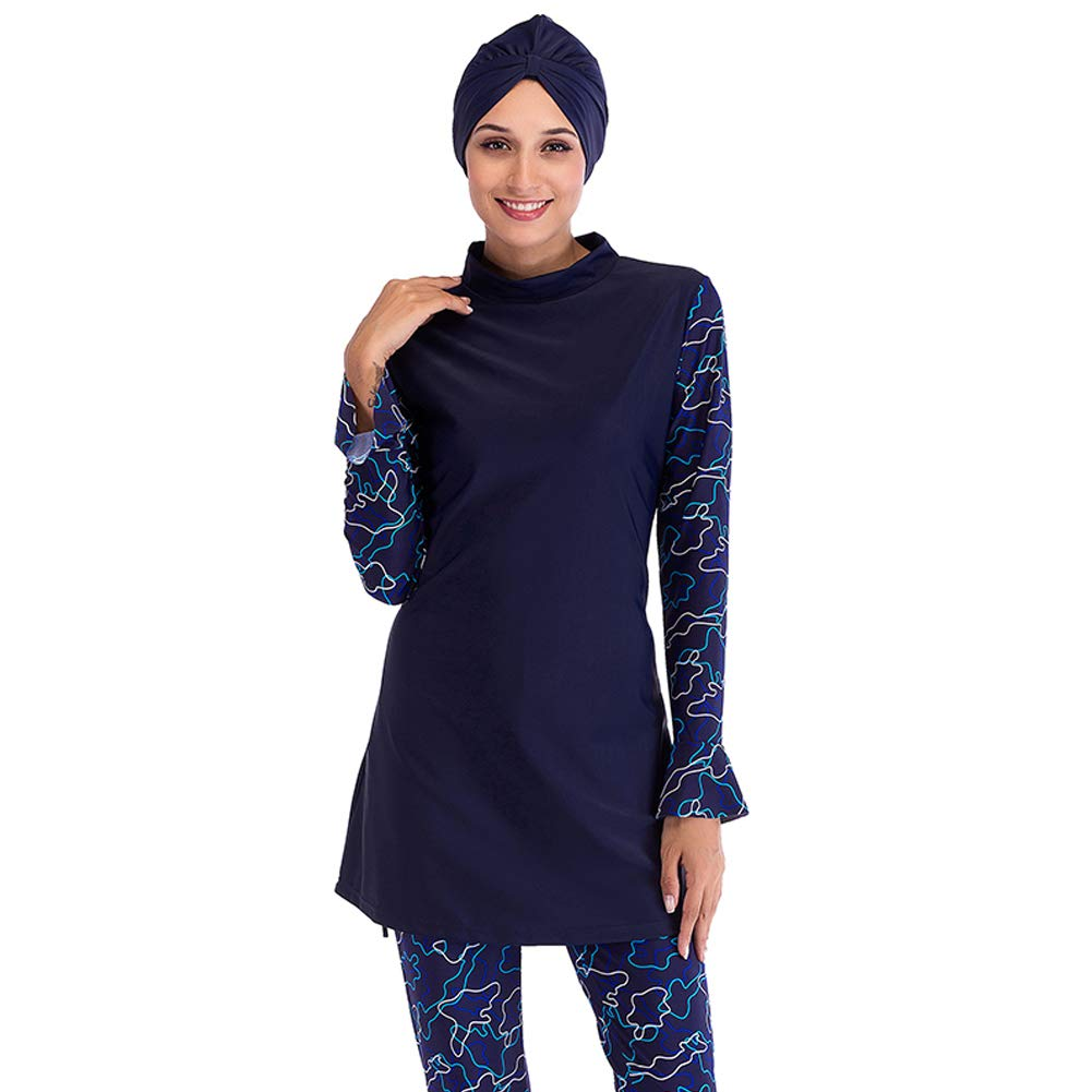 Seafanny Womens' 3pcs Modest Muslim Full Cover Color Block Islamic Burkini with Visor Hijab (3XL (US Size 12-14), Blue)
