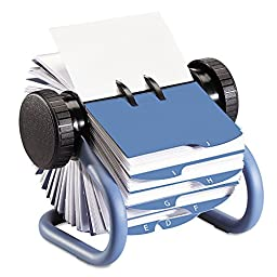 Rolodex 63299 Colored Open Rotary Business Card File with 24 Guides Blue