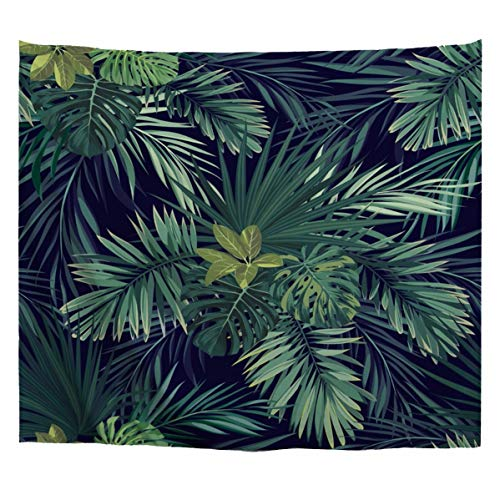 A.Monamour Tropical Dark Green Banana Palm Tree Leaf Plants Themed Print Fabric Tapestry Wall Hangings Blanket Bohemian Bedspread Cover Hippie Beach Towels Bedroom Living Room Dorm Wall Decor