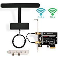LTERIVER 802.11 AC 1200Mbps 2.4GHz 5GHz Dual Band PCI Express(PCIe) Wireless Adapter-PCIE Wireless Card -PCIe Wi-Fi Card-PCIe Wi-Fi Adapter-Qualcom Atheros QCA61X4A Wireless Network Adapter