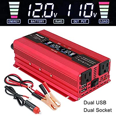 IpowerBingo Power Inverter 800W/2000W Dual AC Outlets and Dual USB Charging Ports DC 12V to 110V AC Car Converter with Digital Display: Automotive