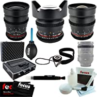Rokinon Wide Angle Cine Lens Kit – 35mm + 24mm + 14mm for Canon + System Hard Case + Accessory Kit