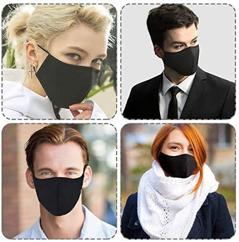 Black Large Adult Cloth Face Protective Shields, 3-Ply Adjustable Reusable Washable Cloth Face Shield Comfort Safety Protection cotton (3 Pack)