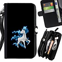 SHIMIN FOR LG OPTIMUS ZONE 3 cool funny cute horse unicorn fancy Zipper Wallet With Strap Card Holder Case Cover