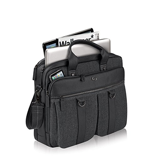 Solo Mercer 15.6 Inch Laptop Briefcase, Black/Grey by SOLO (Image #3)