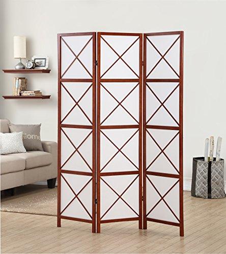 Roundhill Furniture 3-Panel Screen Room Divider, Walnut