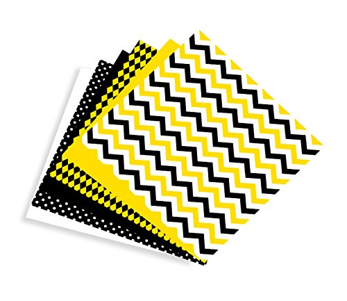 Gold, Black & White Multi-pack Printed Craft Vinyl 6 Sheets 12x12 for Vinyl Cutters - Yellow Jackets University Building
