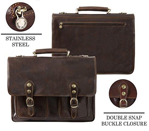 Luggage Depot USA, LLC Men's Alberto Bellucci Italian Leather Express Satchel D. Brn Laptop Messenger Bag, Dark Brown, One Size by Luggage Depot USA, LLC (Image #3)