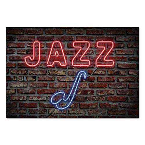 Large Wall Mural Sticker [ Music,Image of Alluring Neon All Jazz Sign with Saxophone Instrument on Brick Wall Print Decorative,Red Blue ] Self-Adhesive Vinyl Wallpaper/Removable Modern Decorating Wa ()