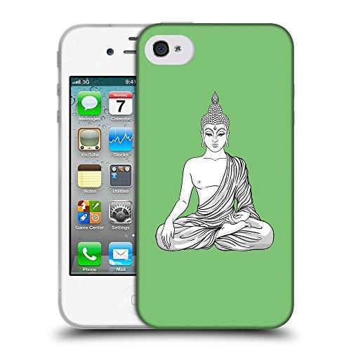 GoGoMobile Coque de Protection TPU Silicone Case pour // Q07720629 Bouddha 8 Pastel Vert // Apple iPhone 4 4S 4G