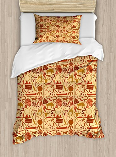 Western Duvet Cover Set Twin Size by Ambesonne, Native American Culture Arrow Hatchet Chiefs Hat Snakes Bison Spears, Decorative 2 Piece Bedding Set with 1 Pillow Sham, Redwood Brown Pale Orange