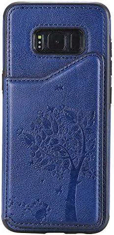 Galaxy S8 ケース, OMATENTI PUレザー 薄型 簡約風 人気 新品 バックケース Galaxy S8 用 Case Cover, 財布カード収納 とコインポケット付き, 青