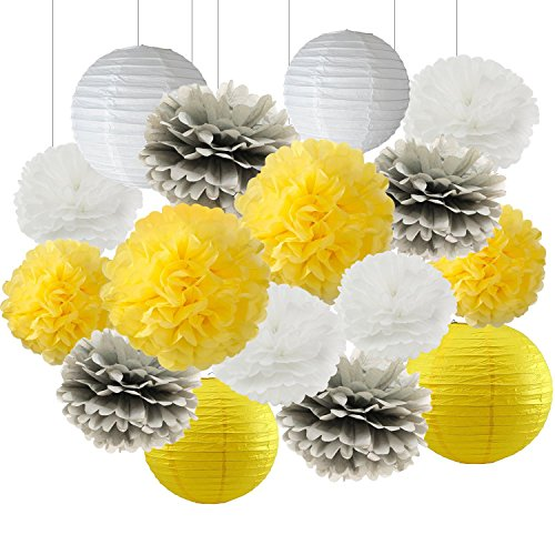 You Are My Sunshine Sun Party Decorations Furuix 16 pcs White Yellow Grey 10inch 8inch Tissue Paper Pom Pom Paper Lanterns for Yellow Themed Party Bridal Shower Decor Baby Shower Decoration by Furuix