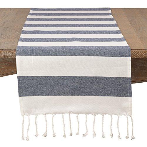 fenncostyles.com Classic Striped Tassel Cotton Table Runner-16 x 72 (Navy Blue)