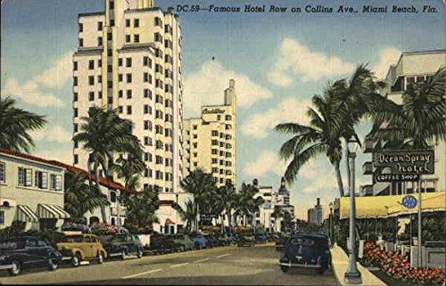 (Hotel Row on Collins Avenue Miami Beach, Florida Original Vintage Postcard)