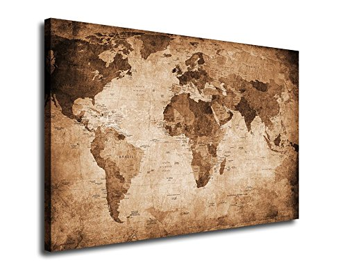 yearainn Canvas Wall Art Vintage World Map Giclee Prints Framed Ready to Hang for Living Room Meeting Room and Bedroom Decoration 24x36 Inches Vintage Look World Map