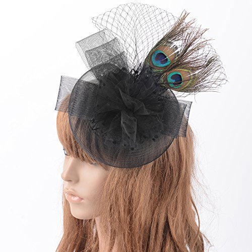 (Kitzen Women Fascinator Feather Headwear Hair Clip Hairpin Hat Hoop Mesh Headband Christmas Derby Cocktail Tea Party Pillbox Hat Wedding)