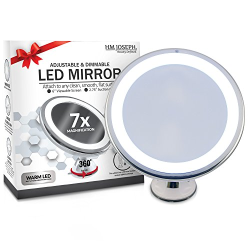 high-quality HM Joseph Wireless 7x Magnification LED Lighted Dimmable Warm Light Suction-Mirror, White