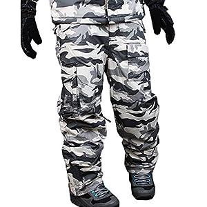 myglory77mall Mens Winter Warm Waterproof Hip Ski Snowboard Military Camo Pants