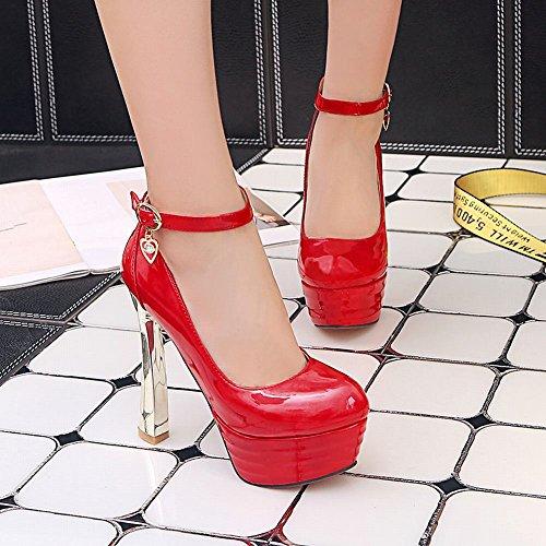 Pied De Charme Femmes Chic Plate-forme Talon Haut Cheville Sangle Boucle Chaussures Chaussures Rouge