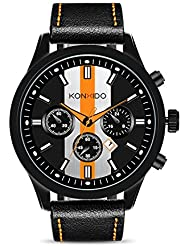 KONXIDO Mens Sports Watches Military Waterproof Big Face Analog Leather Band Wrist Watch Orange