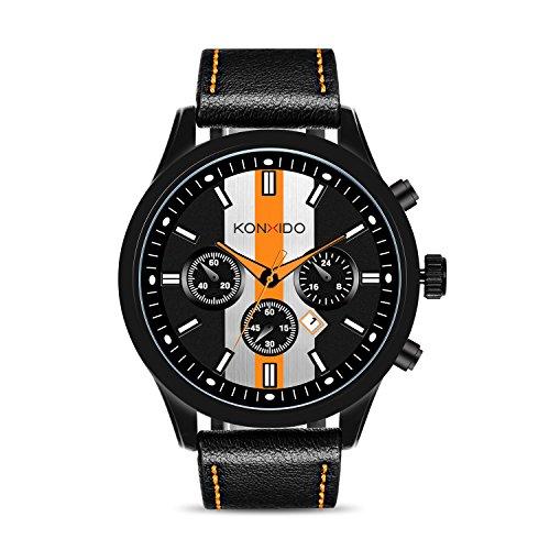 KONXIDO Mens Sports Watches Military Waterproof Big Face Analog Leather Band Wrist Watch Orange by KONXIDO (Image #1)