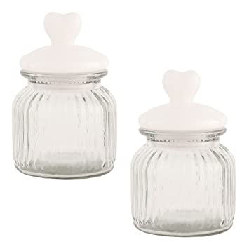 Set of Two Rustic Style Kitchen Storage Jars - Vintage Rippled ...
