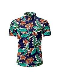Fashion Holiday Tops for Men,Casual Hawaiian Printed Button Summer Short Sleeve T-Shirt