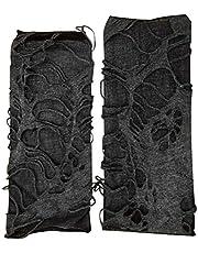 SOIMISS 1 çift cadılar bayramı dekorasyonu Bettler siyah topaklanmış Punk eldiven (siyah gri)