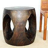 Haussmann Oval Windows 20x18x20 inch H End Table Sust Wood w Eco Friendly Mocha Oil Finish