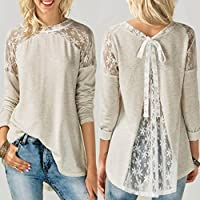 5665ebac O Neck Autumn Tops Women,Hemlock Ladies Long Sleeve T Shirt Soft Lace  Blouse Tops