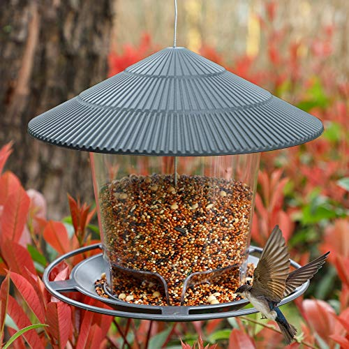 FORUP Panorama Bird Feeder, Hanging Wild Bird Feeder with Round Shaped Roof, Gazebo Bird Feeder for Outside Garden Yard Decoration, Brown