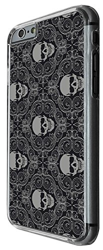 1514 - Cool Fun Trendy Cute floral skull tattoo biker sugar skull collage Design iphone 6 6S 4.7'' Coque Fashion Trend Case Coque Protection Cover plastique et métal - Clear