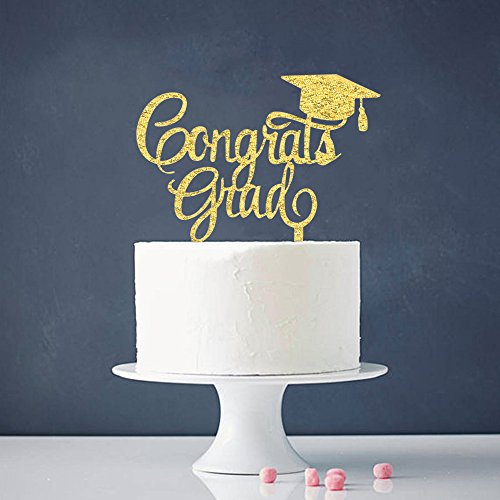 Graduate Cake Topper - Congrats Grad Cake Topper - Class of 2018 Graduate Party Decorations Supplies - High School Graduation, College Graduate Cake Topper