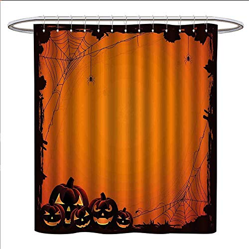 (Davishouse Halloween Shower Curtains Fabric Extra Long Grunge Spider Web Jack o Lanterns Horror Time of Year Trick or Treat Print Bathroom Accessories W72 x L84 Orange Seal)