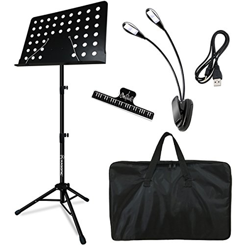 Music Stand, Kasonic Professional Collapsible Music Stand for Music Sheet, Instrument Books with LED light, Paper Holder and Carrying Bag Perfect for Instrumental Performance (Base Drum Bag)