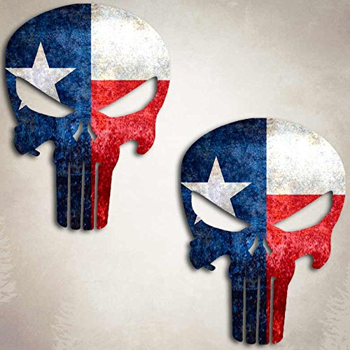 Texas Flag Skull Punisher Sticker USA Lone Star State Decal