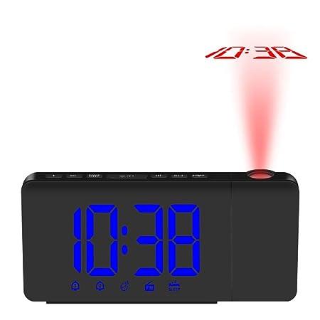 Fesjoy Reloj de Alarma de Proyección LED Radio Despertador ...