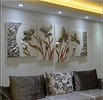 ZZZSYZXL Happy floridi dipinti in rilievo tridimensionale 4 pezzi ...