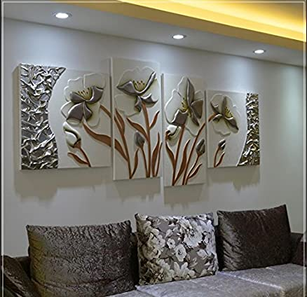 FamilyWall Happy floridi dipinti in rilievo tridimensionale 4 ...