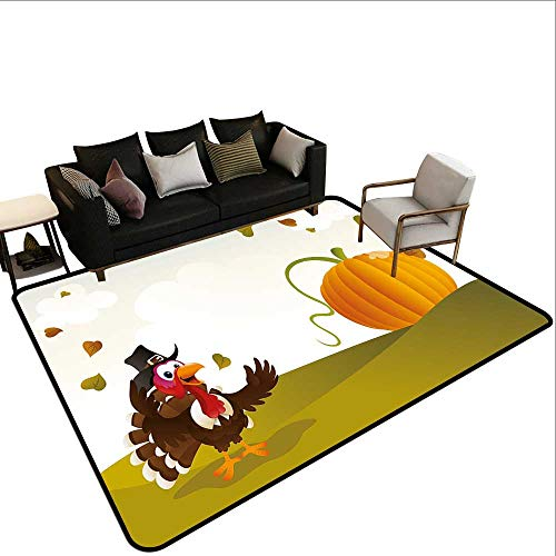 - Home Custom Floor mat,Happy Pilgrim Poultry Animal with a Giant Pumpkin on Green Hills of The Farmland 6'x7',Can be Used for Floor Decoration