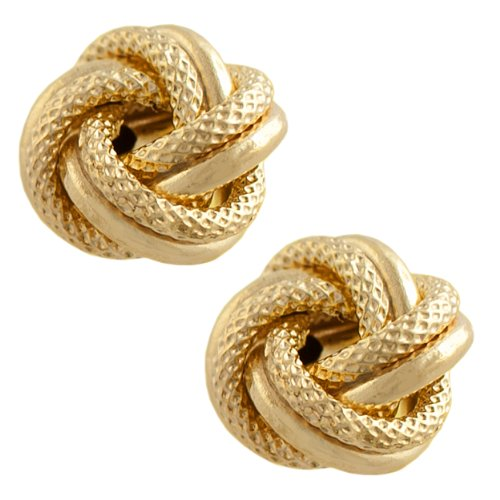 10k Yellow Gold Textured Love Knot Earrings