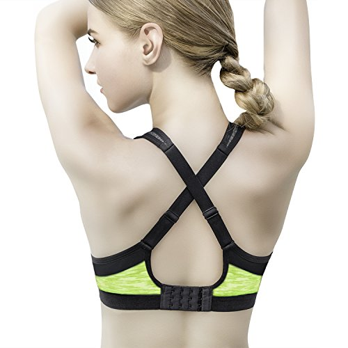 KISSBOBO Sports Bra Yoga con correas ajustables para entrenamiento Fitness Amarillo
