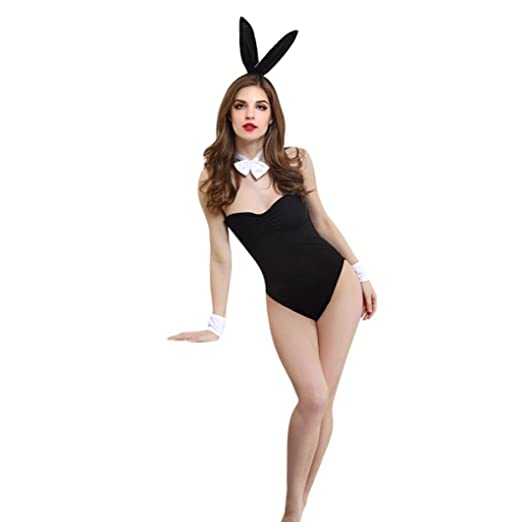 06473ef14 Qisc Women's Sexy Roleplay Bunny Playsuit Set Rabbit Outfit Cosplay Costume  Bodysuit (Black)