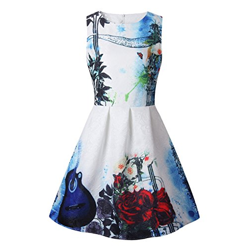 ZAY Women Porcelain Print Flare Sleeveless Vintage Floral Dress L 6010